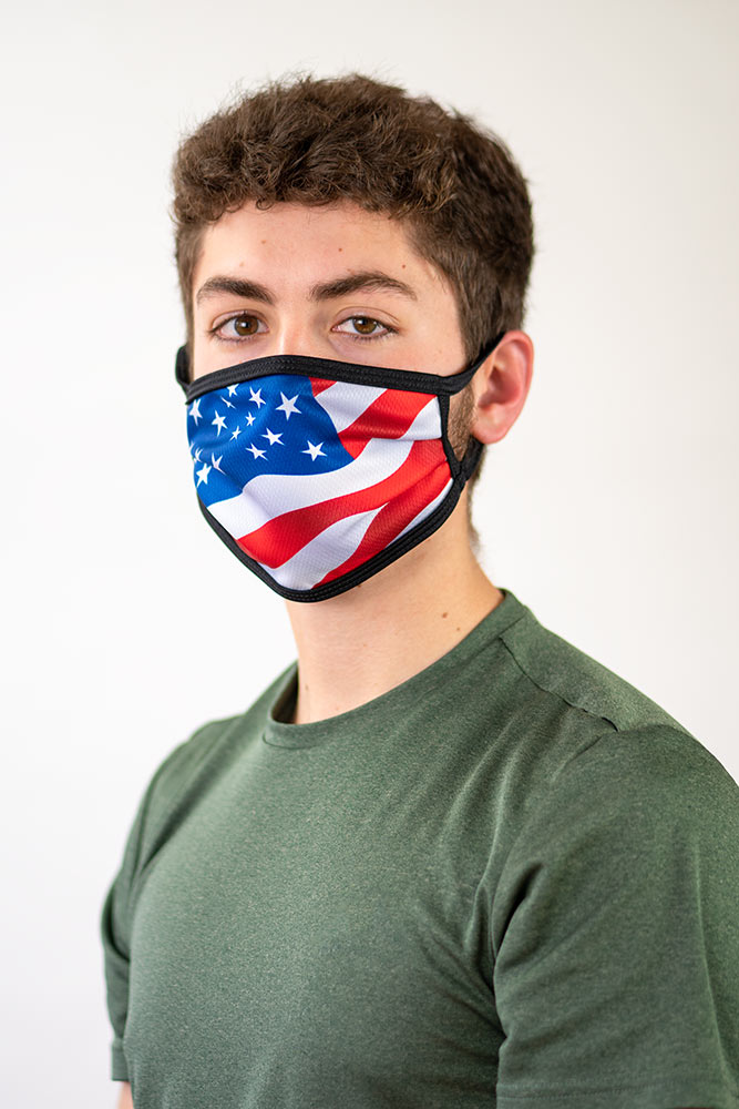 Sublimated face mask with US flag design.