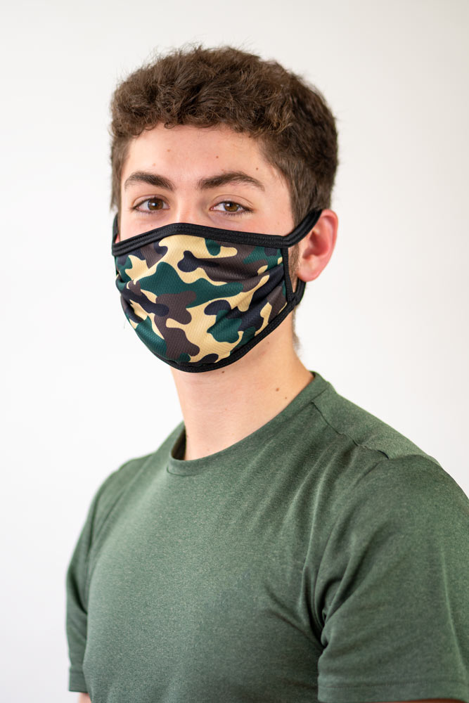 Sublimated face mask with camo design.