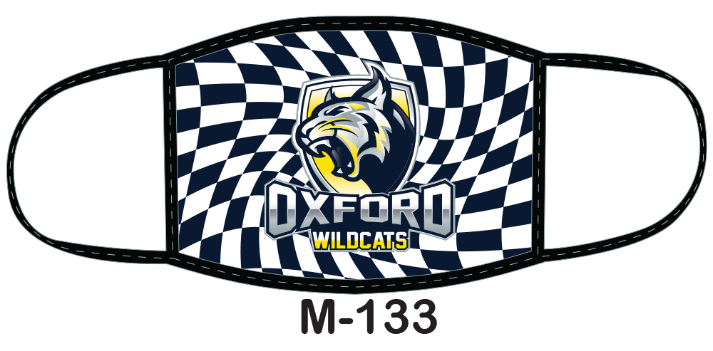 Sublimated face mask with wildcats design.