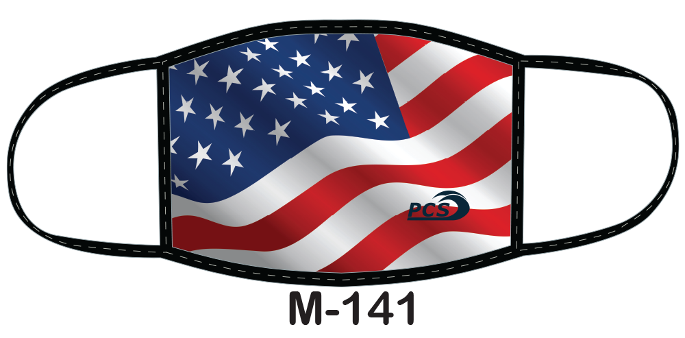 Sublimated face mask with waving American flag design.