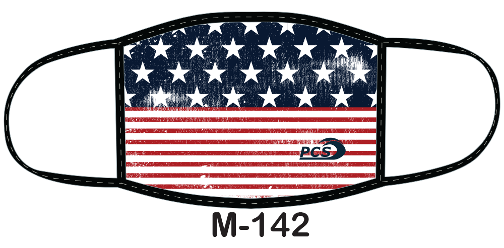 "Sublimated face mask with American flag ""stars and bars"" design."