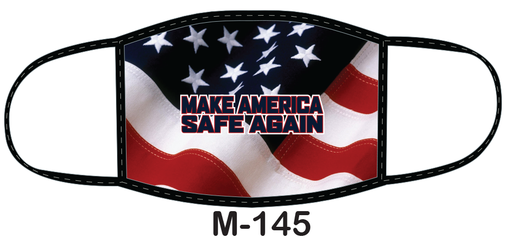 "Sublimated face mask with American flag and ""Make America Safe Again"" design."