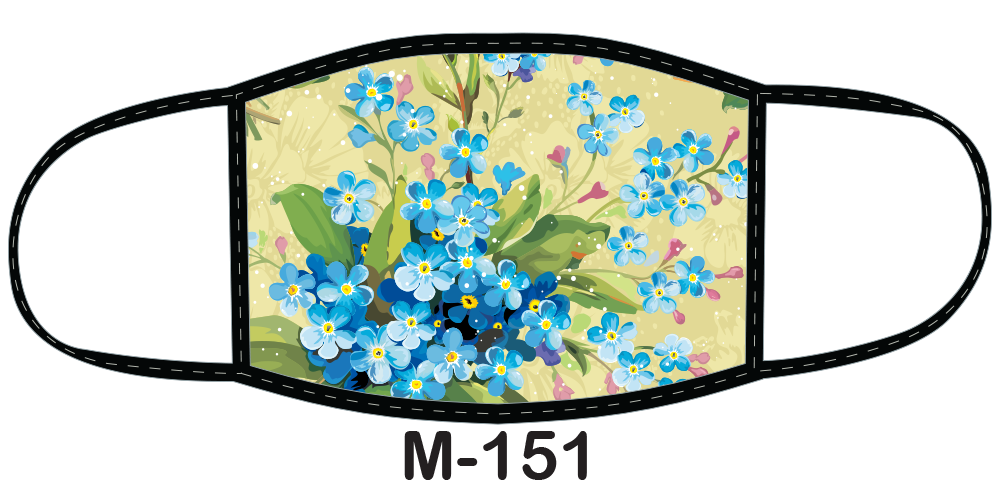 Sublimated face mask with blue flowers design.