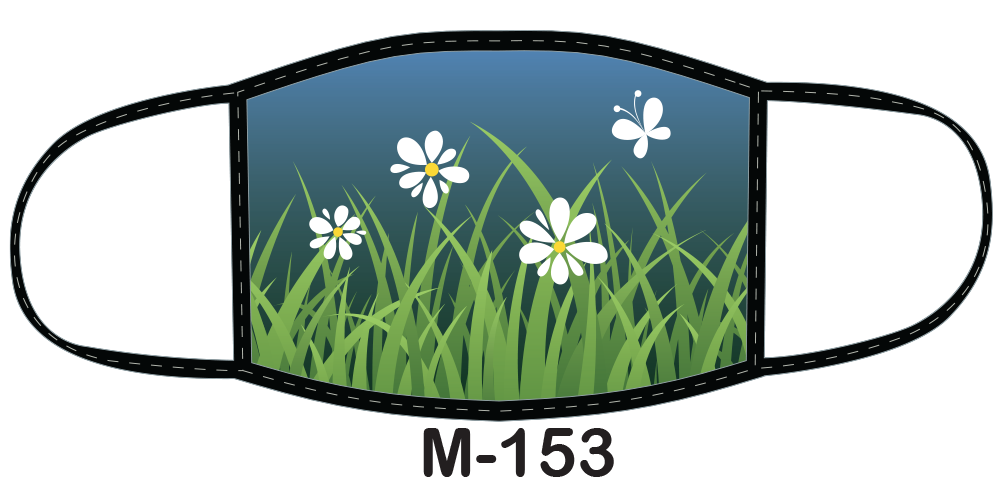Sublimated face mask with grass and daisies design.