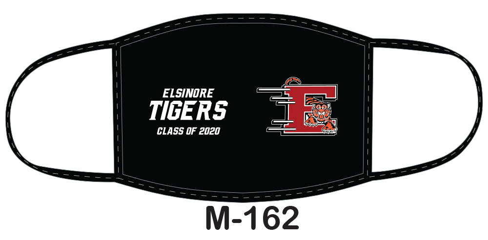 Sublimated face mask with black field and Class of 2020 design.