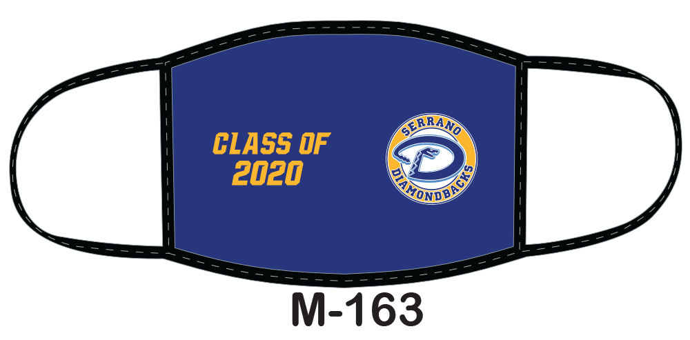 Sublimated face mask with blue field and Class of 2020 design.