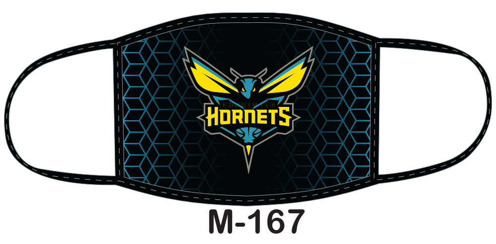 Sublimated face mask with hornets design.