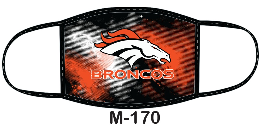 Sublimated face mask with broncos design.