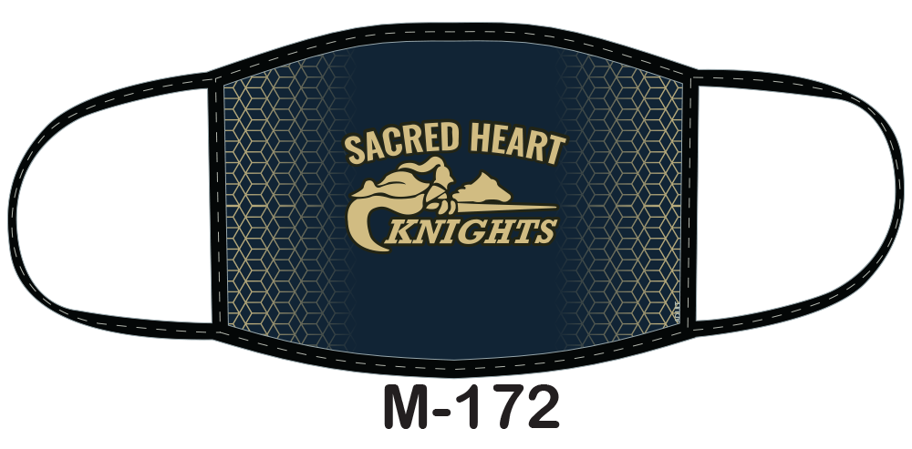 Sublimated face mask with Sacred Heart Knights design.