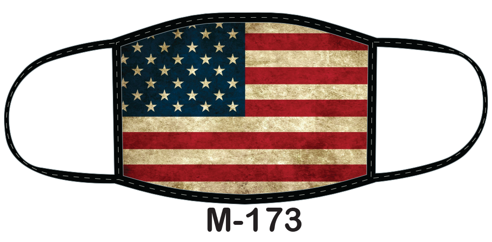 Sublimated face mask with weathered American flag design.
