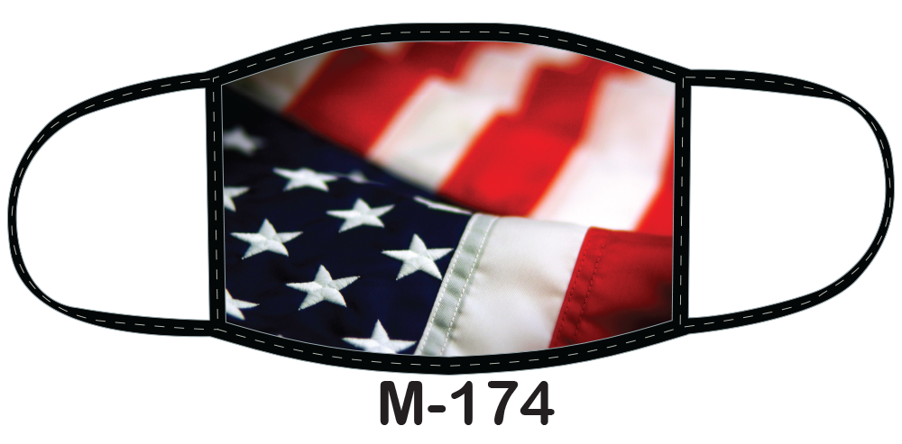 Sublimated face mask with American flag design.