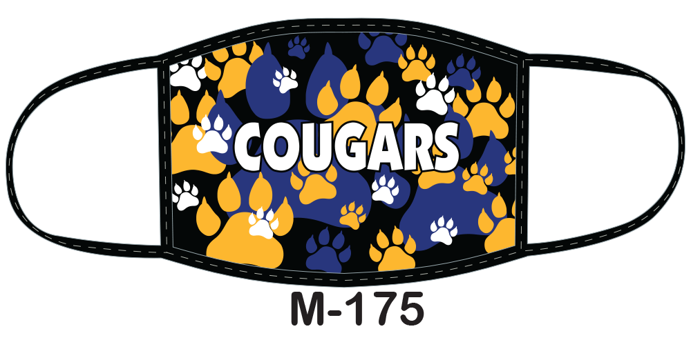 Sublimated face mask with Cougars logo against field of blue and gold paw prints.