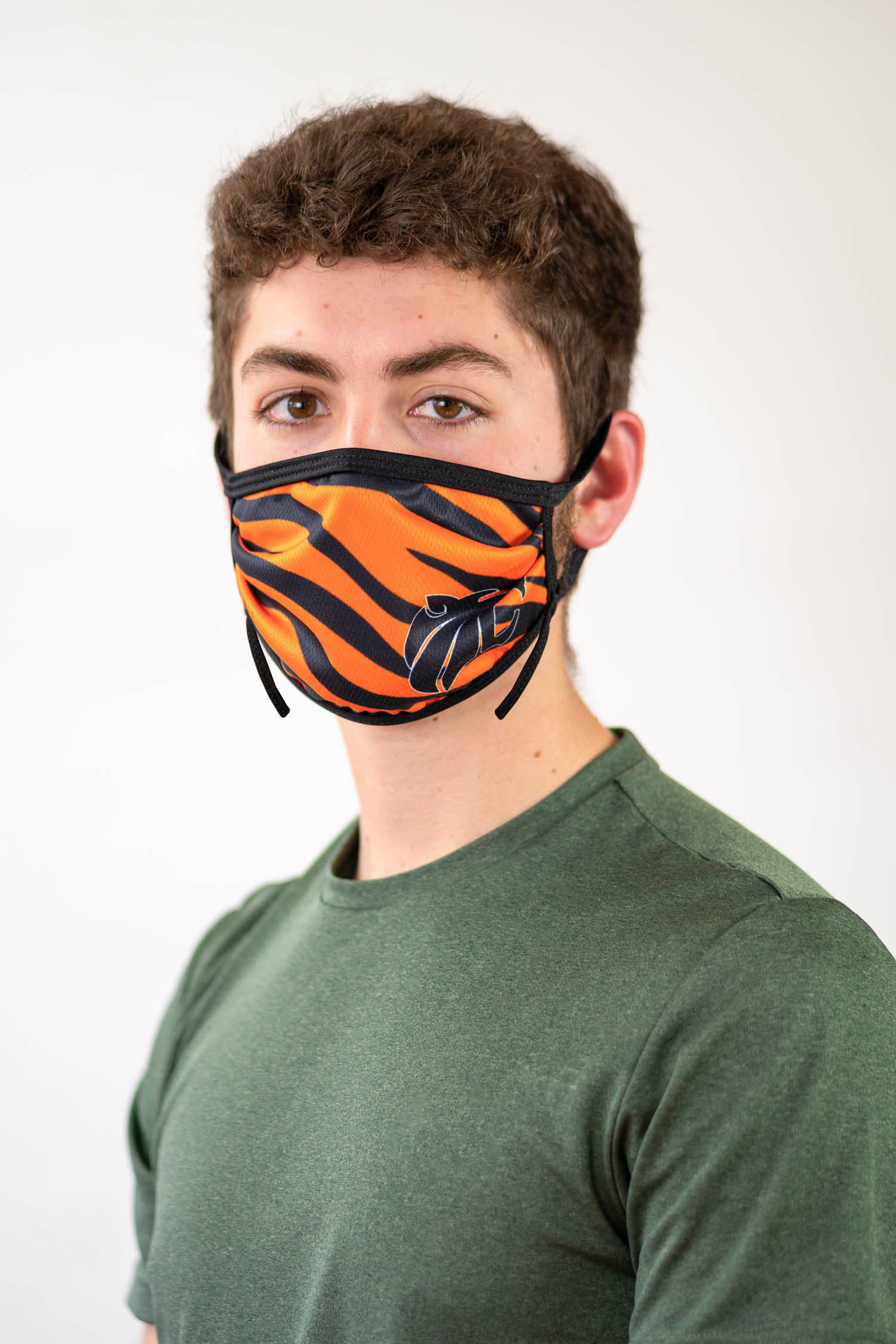 Sublimated face mask with tiger design.