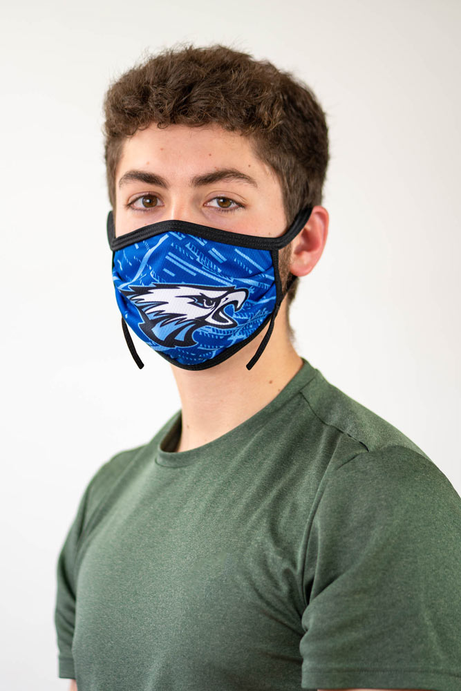 Sublimated face mask with eagle design.