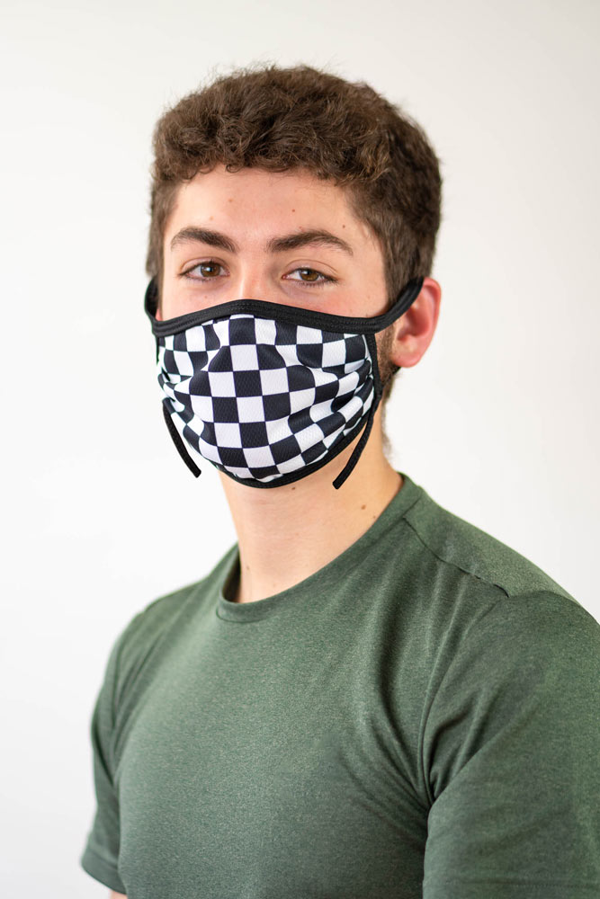 Sublimated face mask with rally flag pattern.